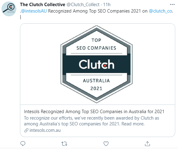 Intesols post on Clutch's twitter account
